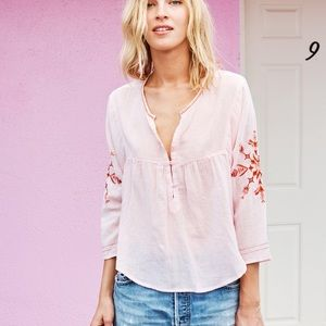 Sundry peasant top pink embroidered cotton